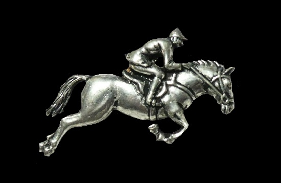 Jockey on a racing Horse brooch pin. A.R. Bown signed