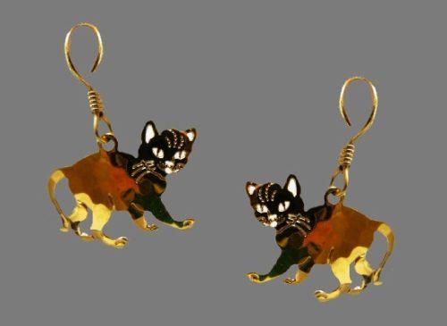 Kitten gold plated enameled earrings