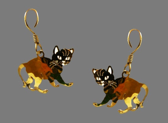 Kitten gold plated enameled earrings