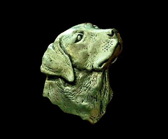 Labrador head realistic vintage brooch. Bronze tone textured pewter