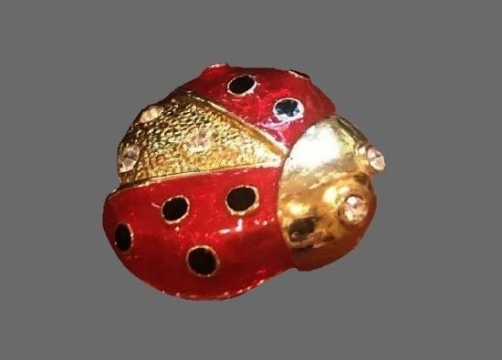 Ladybug brooch. Gold tone, enamel, rhinestones