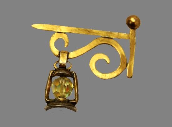 Lamp Post and Yellow Crystal Lantern Brooch Pin