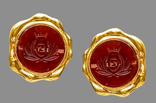 Large Gold Tone and Carnelian Glass with Logo clip Earrings. 1990s