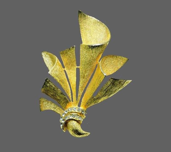 Leaf bouquet modernist design brooch. Gold tone, rhinestones
