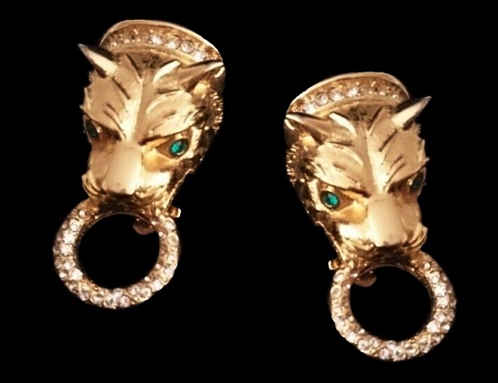 Lion head door knocker design earrings. Gold tone, rhinestones