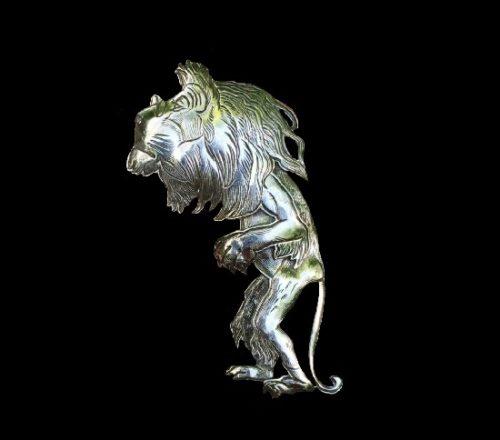 Lion silver brooch. 6 cm. 1990s