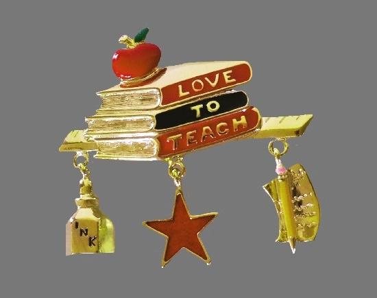 Love To Teach vintage brooch. Gold tone, enamel