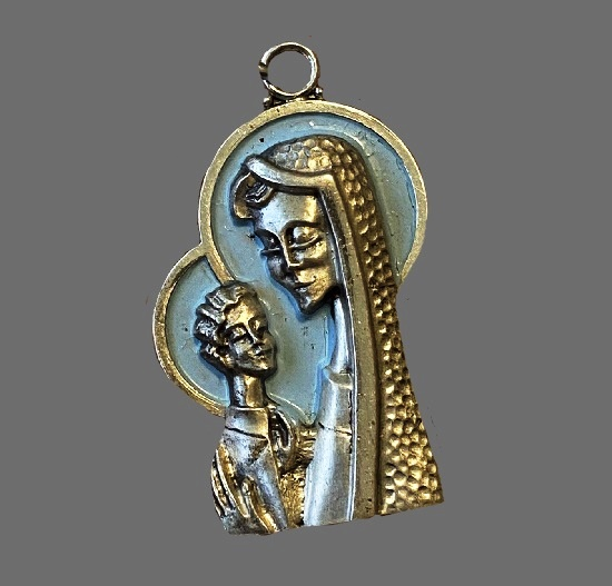 Madonna and child pendant. Sterling silver, gold plated, blue enamel