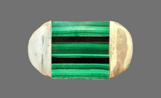 Malachite and onyx inlay sterling silver brooch