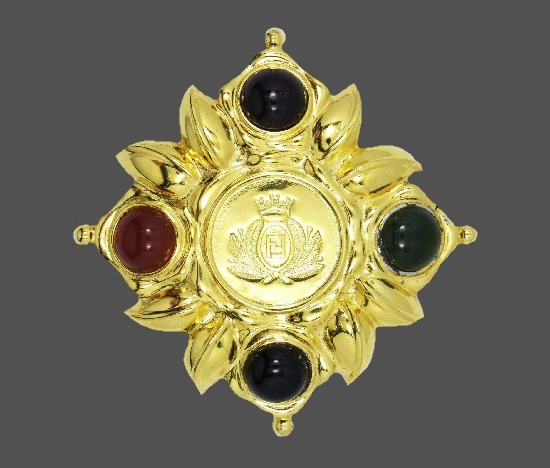 Maltese cross gold plated brooch with logo FF in the center, art glass