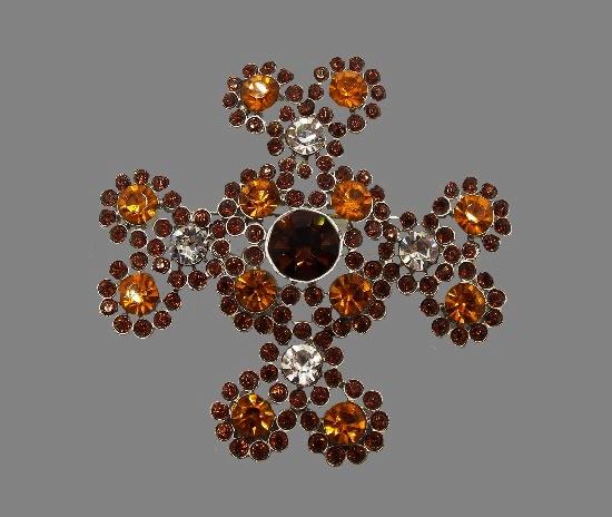 Maltese cross brooch. Gold tone metal, rhinestones, crystals. 7 cm. 1990s
