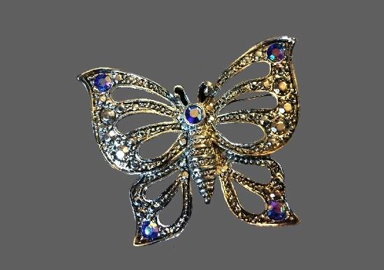 Marcasite butterfly brooch, aurora borealis purple crystals, rhinestones