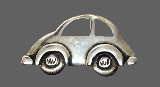 Mini retro car sterling silver brooch