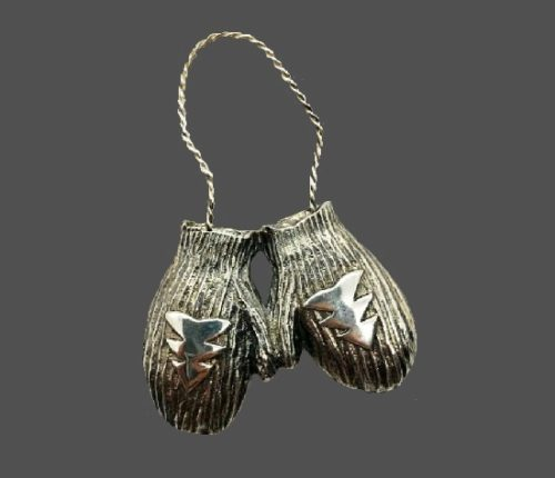 Mittens sterling silver pin