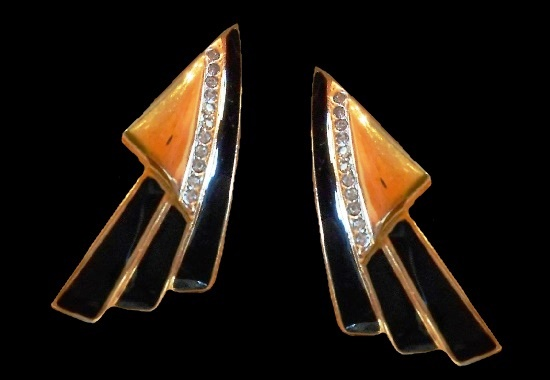 Modernist design earrings. Gold tone, rhinestone, black enamel