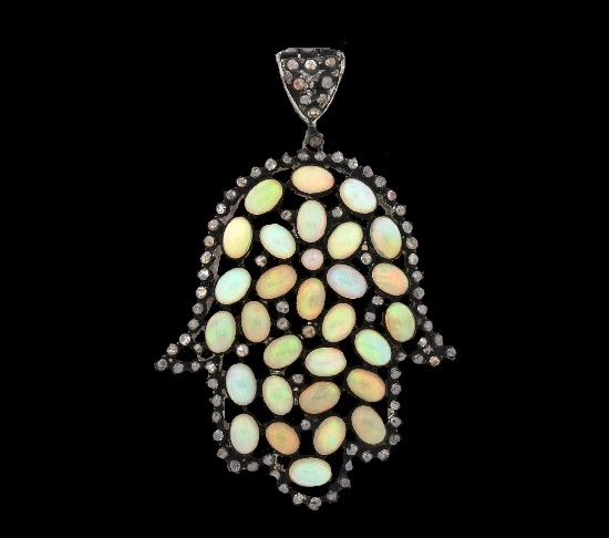 Multicolor opal diamond 925 sterling silver pendant