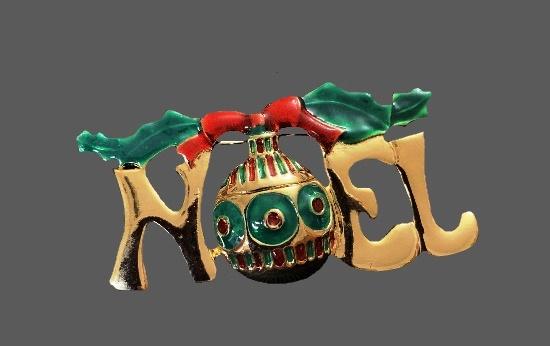 Noel Christmas ornament brooch. Gold tone alloy, enamel, art glass