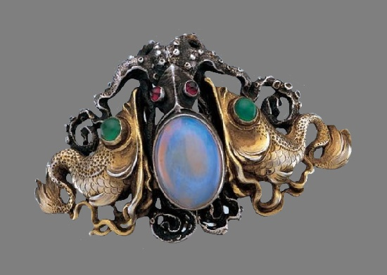 Octopus Buckle. Silver plated, opal, garnets, chalcedonies. 7.50cm. Circa 1900