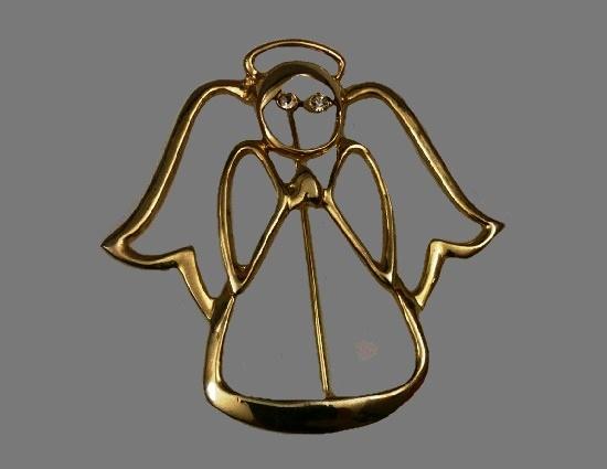Open work angel brooch. Gold tone, rhinestones