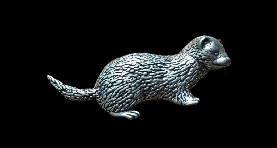 Otter silver tone pewter brooch