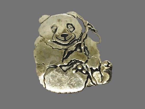 Panda sterling silver brooch