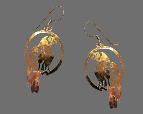 Parrot dangle earrings. 14 K Gold Plated, open work