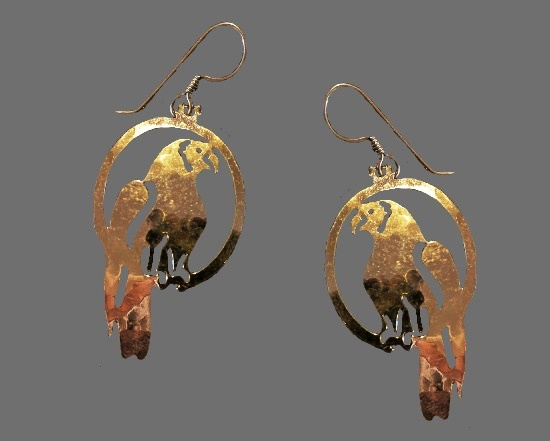 Parrot dangle earrings. 14 K Gold Plated, open work