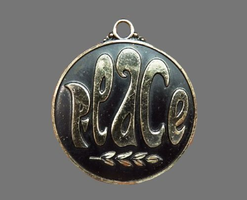 Peace round pendant. Blackened silver