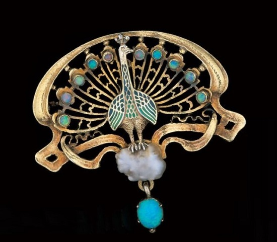 Peacock Brooch. Gold filled silver, enamel, opal, pearl. Circa 1900
