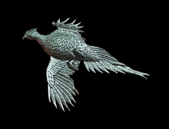 Pheasant in flight vintage pewter brooch.1986