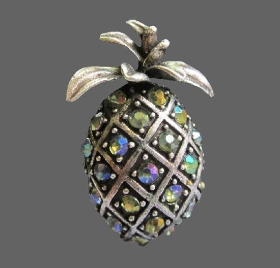 Pineapple brooch. Gunmetal, Aurora Borealis rhinestones