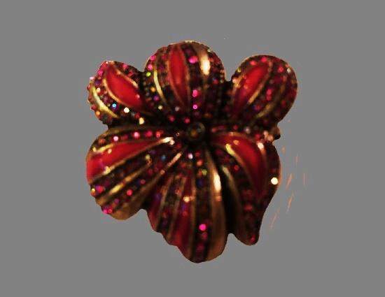Pink Enamel Rhinestones gold tone flower brooch