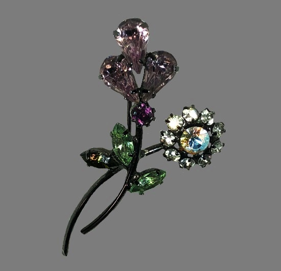 Pink flowers on stems with green leaves vintage brooch. Metal alloy, rhinestones
