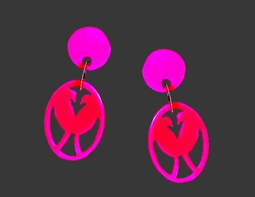 Pink lovebird dangling earrings, bakelite