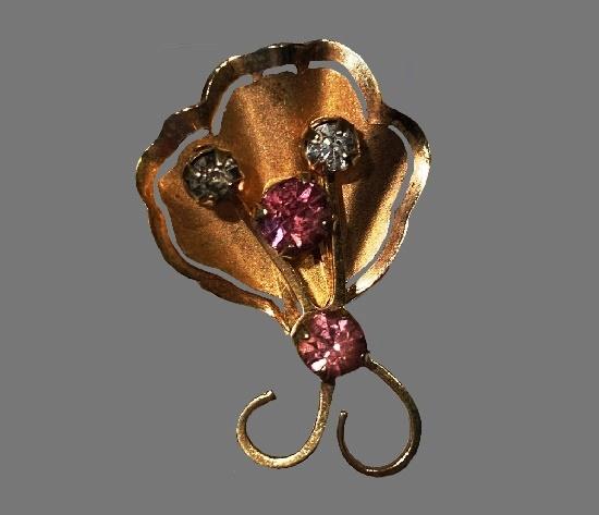 Pink rhinestone gold tone brooch