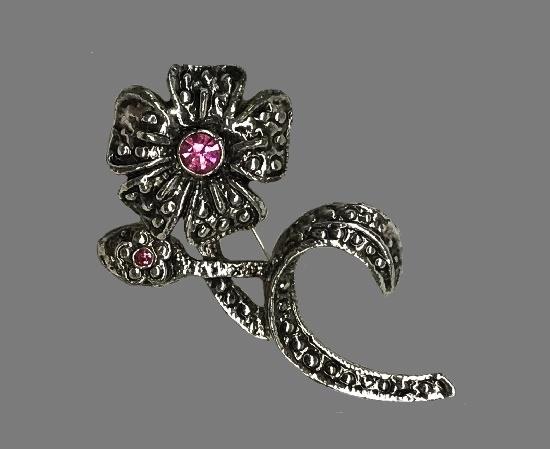 Pink rhinestone marcasite flower brooch