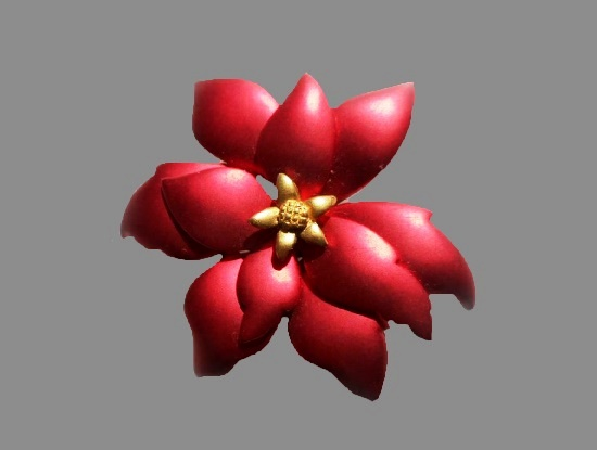 Poinsettia Flower brooch. Gold tone, red brushed enamel