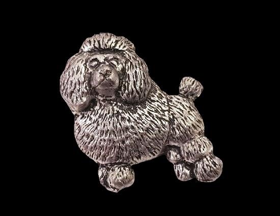 Poodle dog pewter brooch
