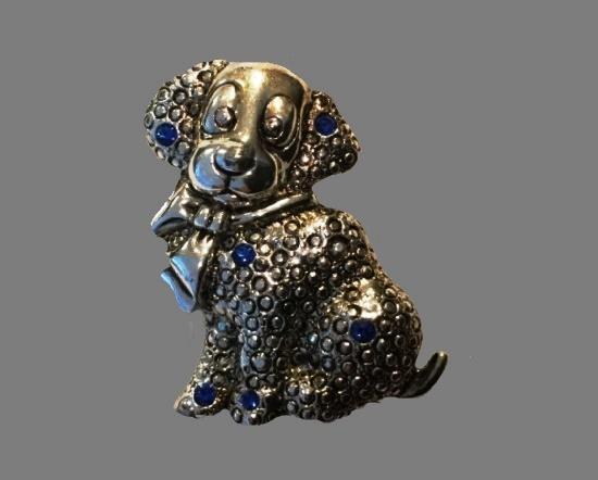 Puppy silver tone blue rhinestone brooch