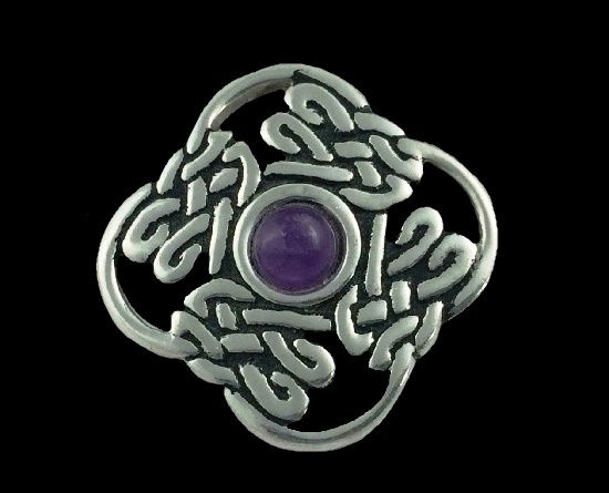 Purple cabochon pewter celtic knot brooch