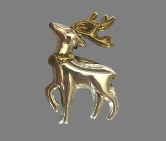 Reindeer pendant pin. 925 silver, brass