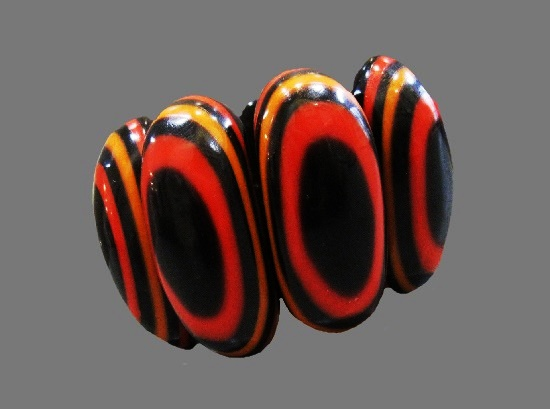 Red Orange Black resin bracelet