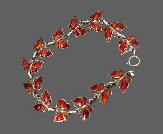 Red butterfly bracelet. 925 Sterling silver, enamel