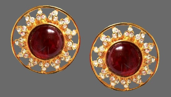 Red flower earrings. Gripoix glass, clear rhinestones, gold tone metal