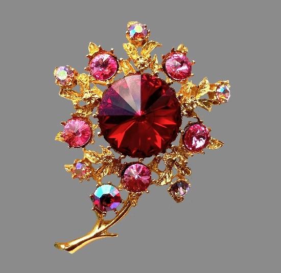Red flower vintage brooch. Gold tone metal alloy, Aurora Borealis rhinestones