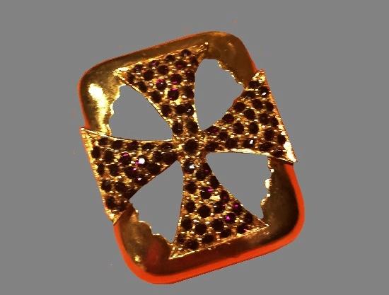 Red rhinestone Maltese Cross brooch pendant