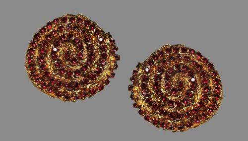 Red rhinestone gold tone clip on earrings