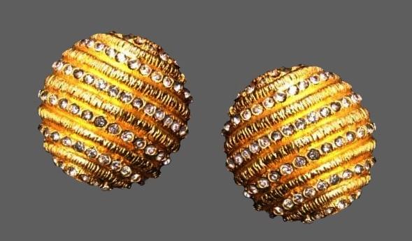 Rhinestone striped gold tone earrings