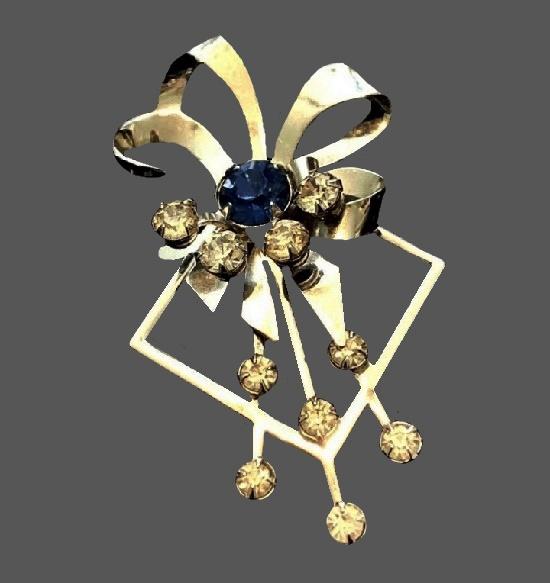 Ribbon bow gold tone rhinestones brooch