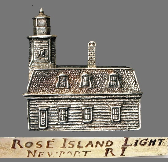Rose Island Light Newport brooch. Sterling silver